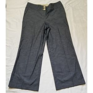 Ann Taylor Loft wide leg denim career trousers.